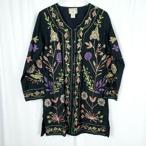 April Cornell Embroidered Floral Cardigan Jacket